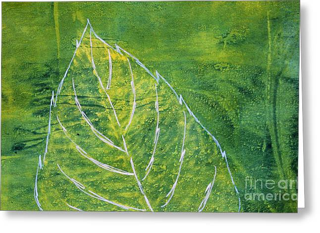 Sustainable Gardening Greeting Cards - Hydrangea Leaf Print 8 Greeting Card by Lauri Jean Crowe