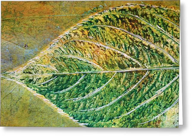 Sustainable Gardening Greeting Cards - Hydrangea Leaf Print 9 Greeting Card by Lauri Jean Crowe