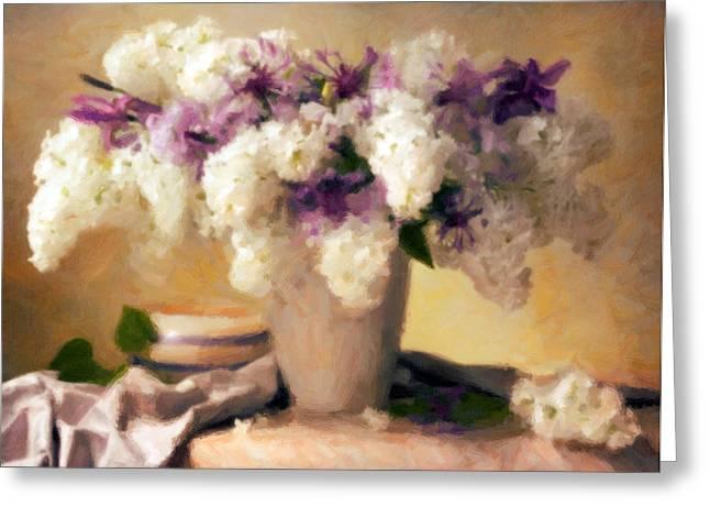 White Cloth Mixed Media Greeting Cards - Hydrangea Summer Display Greeting Card by Georgiana Romanovna