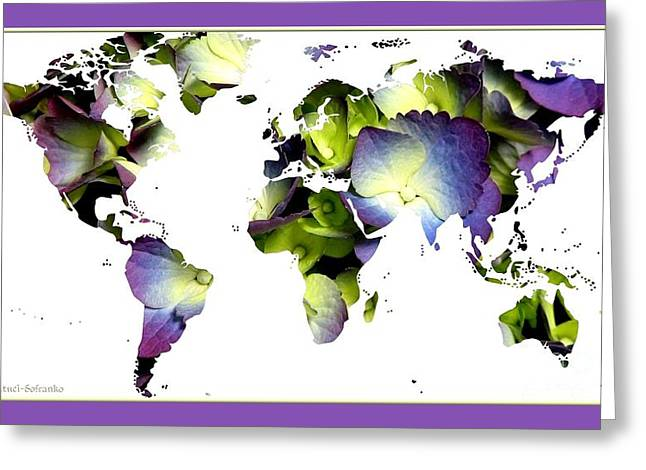 World Map Print Photographs Greeting Cards - Hydrangea World Map Greeting Card by Rose Santuci-Sofranko