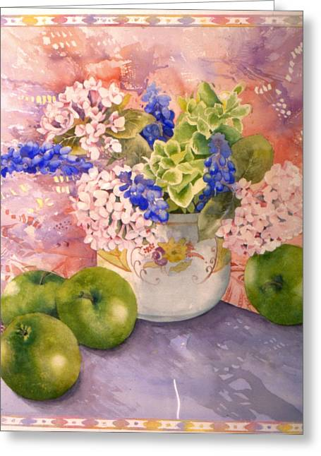 Julia Rowntree Greeting Cards - Hydrangeas And Hyacinths Greeting Card by Julia Rowntree