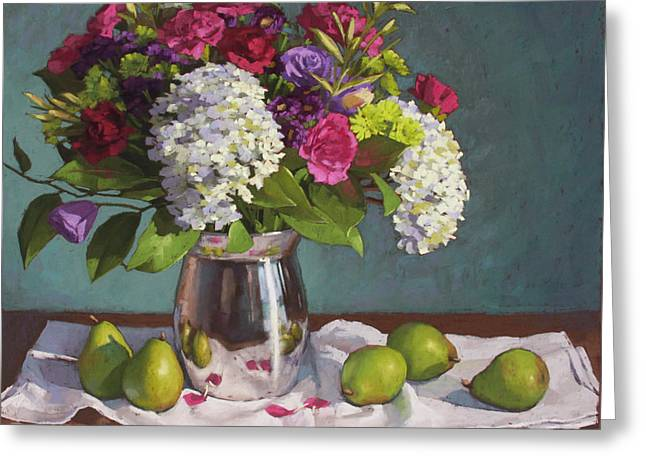 Pink Carnations Greeting Cards - Hydrangeas and Pears Greeting Card by Sarah Blumenschein