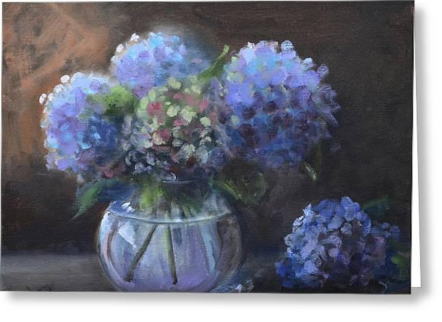 Glass Vase Greeting Cards - Hydrangeas Greeting Card by Donna Tuten