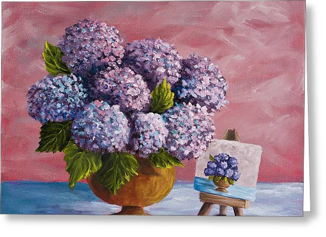 Double Image Greeting Cards - Hydrangeas From my Garden Greeting Card by Darice Machel McGuire