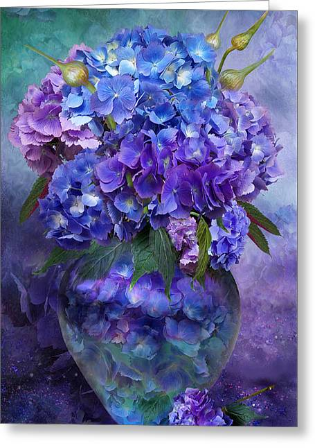 Hydrangeas In Hydrangea Vase Greeting Card by Carol Cavalaris
