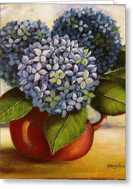 Jugs Pastels Greeting Cards - Hydrangeas in jug Greeting Card by Sandra Sengstock-Miller
