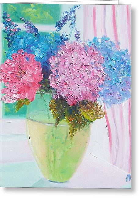 Vase Of Flowers Greeting Cards - Hydrangeas on a windowsill Greeting Card by Jan Matson