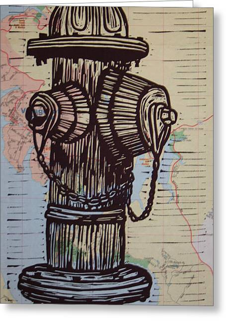 Lino Greeting Cards - Hydrant on Map Greeting Card by William Cauthern