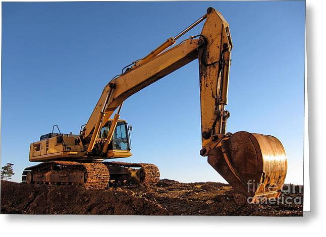 Excavator Greeting Cards - Hydraulic Excavator Greeting Card by Olivier Le Queinec