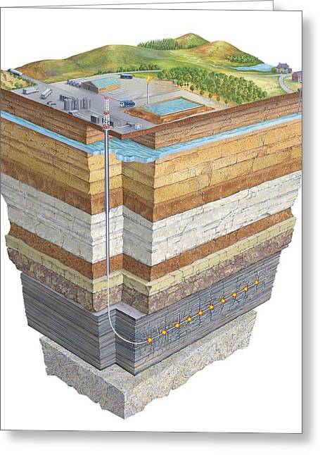 Fossil Fuel Greeting Cards - Hydraulic fracturing, artwork Greeting Card by Science Photo Library