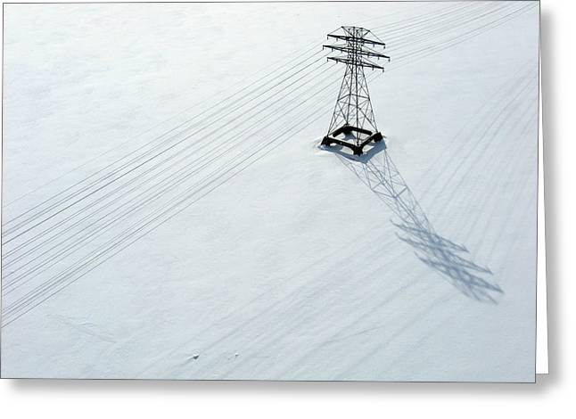 Aerial Greeting Cards - Hydro lines over a frozen Ottawa River. Greeting Card by Rob Huntley