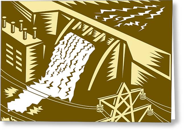 Water Powered Generator Greeting Cards - Hydroelectric Hydro Energy Dam Woodcut Greeting Card by Aloysius Patrimonio