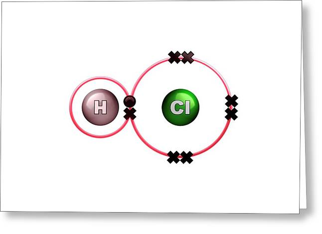 Hydrogen Chloride Molecule Bond Formation Greeting Card by Animate4.com/science Photo Libary