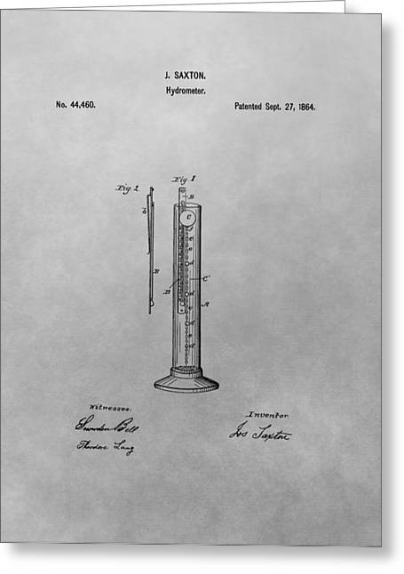 College Drawings Greeting Cards - Hydrometer Patent Drawing Greeting Card by Dan Sproul