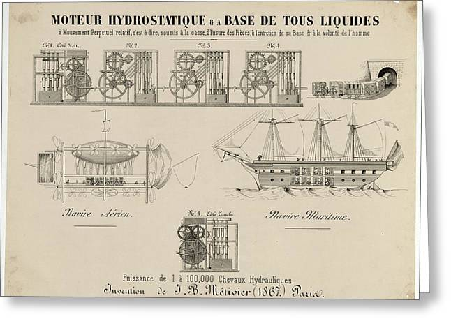Hydrostatic Motor Design Greeting Card by Library Of Congress