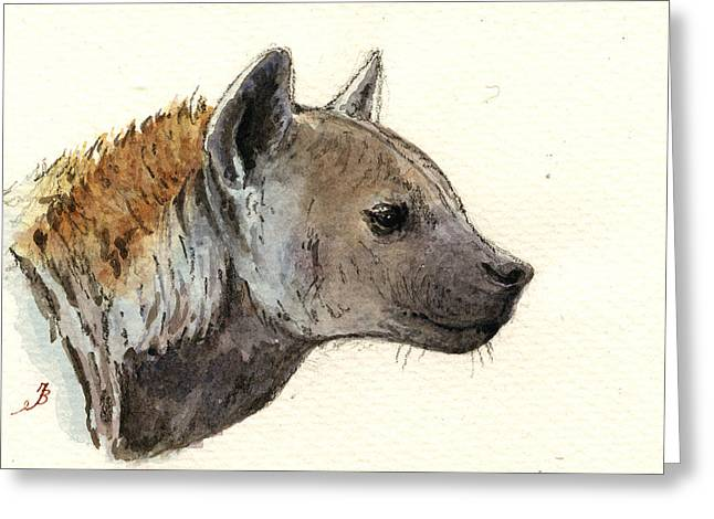 Africa Paintings Greeting Cards - Hyena head study Greeting Card by Juan  Bosco