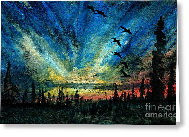 Bird Congregation Greeting Cards - Hyperborean Flight Greeting Card by R Kyllo