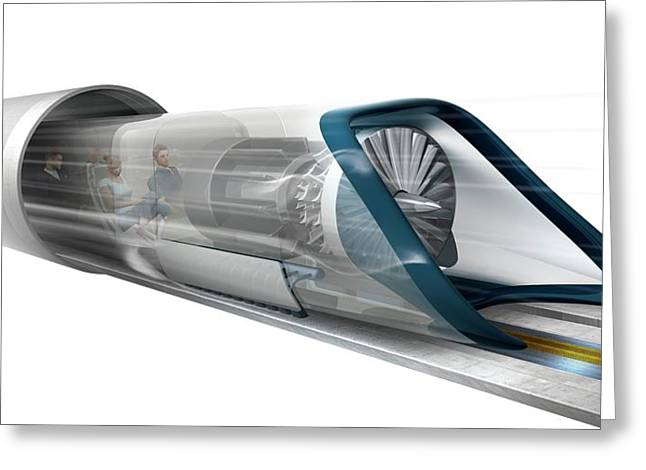 Hyperloop Transport Greeting Card by Claus Lunau