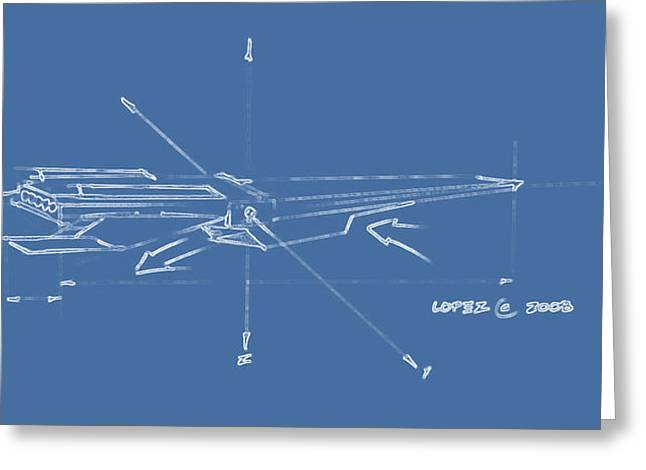 Nasa Drawings Greeting Cards - Hypersonic Blue Greeting Card by Julio R Lopez Jr