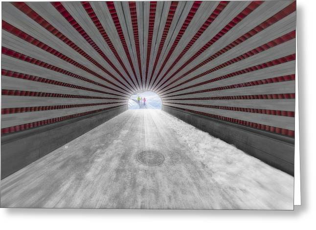 Snowstorm Greeting Cards - Hypnotic Playmates Arch Greeting Card by Susan Candelario