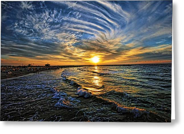 Hypnotic Sunset at Israel Greeting Card by Ron Shoshani
