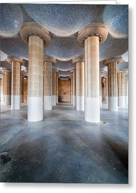 Catalan Greeting Cards - Hypostyle Room in Park Guell Greeting Card by Artur Bogacki