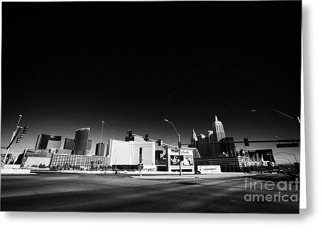 Tropicana Las Vegas Greeting Cards - i-15 north and tropicana road junction intersection looking towards Las Vegas Nevada USA Greeting Card by Joe Fox