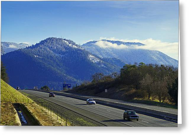 Drifting Snow Greeting Cards - I-5 at Grants Pass in Winter Greeting Card by Mick Anderson