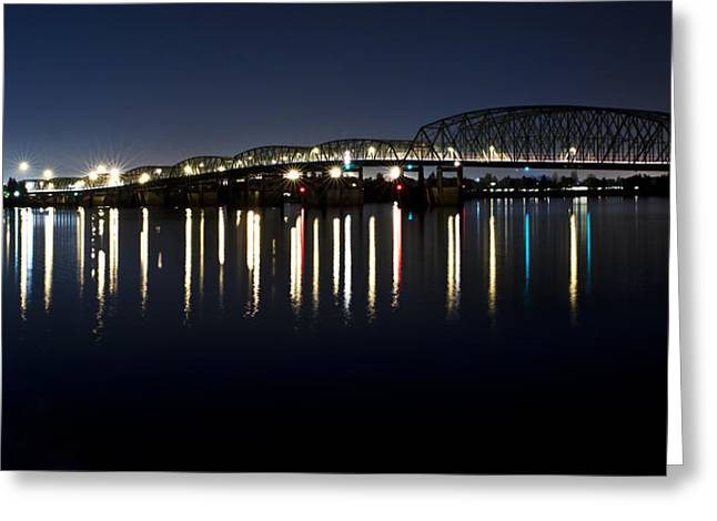Night Scenes Pyrography Greeting Cards - I-5 Bridge Greeting Card by Artjom Jatskovski
