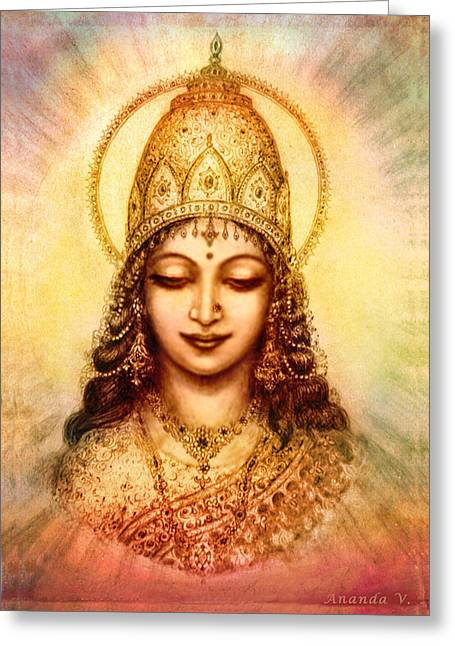 Goddess Durga Mixed Media Greeting Cards - I abide in my own Blissful Self Greeting Card by Ananda Vdovic