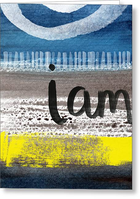 Abstract Beach Landscape Greeting Cards - I Am- abstract painting Greeting Card by Linda Woods