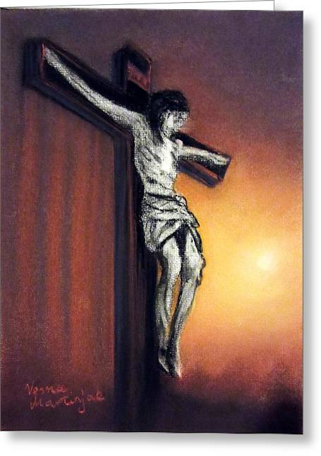 Jesus Pastels Greeting Cards - I AM always with you Greeting Card by Vesna Martinjak