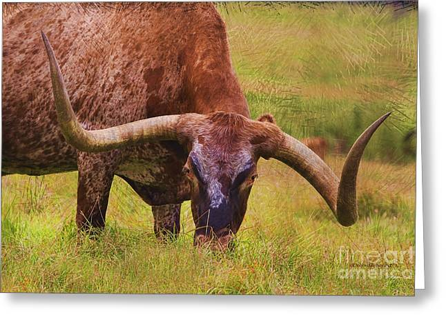 Steer Greeting Cards - I am Eating Greeting Card by Deborah Benoit