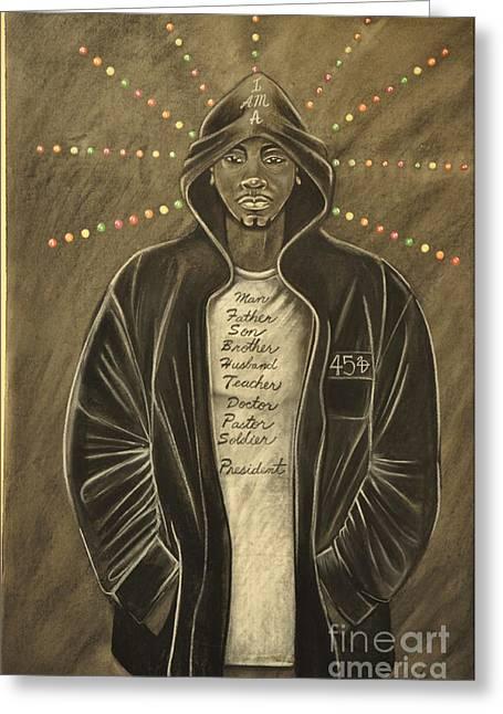 Hoodies Drawings Greeting Cards - I Am Greeting Card by Lloyd  Wade