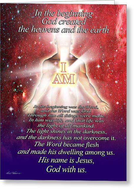 Bible Mixed Media Greeting Cards - I Am Greeting Card by Nate Owens