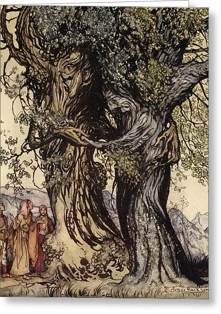 Greek Myths Greeting Cards - I Am Old Philemon! Murmured The Oak Greeting Card by Arthur Rackham
