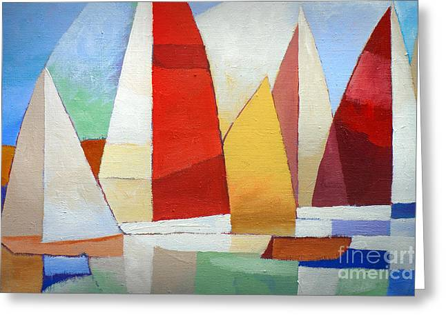 Cubism Greeting Cards - I am sailing Greeting Card by Lutz Baar