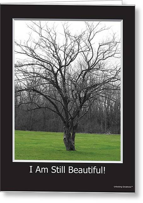 I Write Greeting Cards - I Am Still Beautiful- Large Greeting Card by Zenja Glass