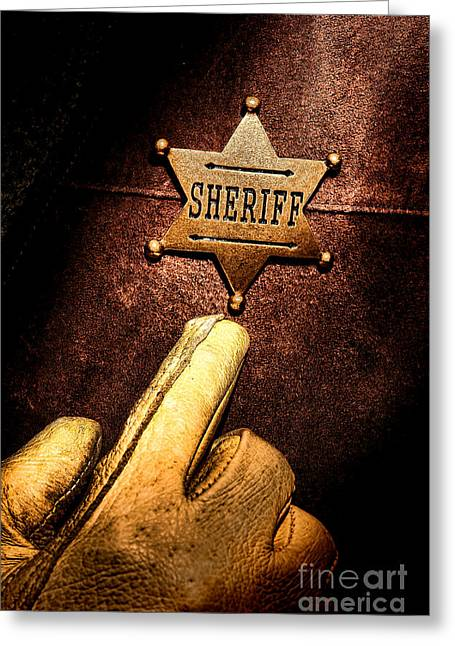 Law Enforcement Greeting Cards - I AM the Law Greeting Card by Olivier Le Queinec