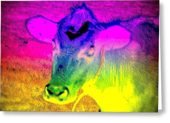 Psychiatric Greeting Cards - I am the most colorful cow Greeting Card by Hilde Widerberg