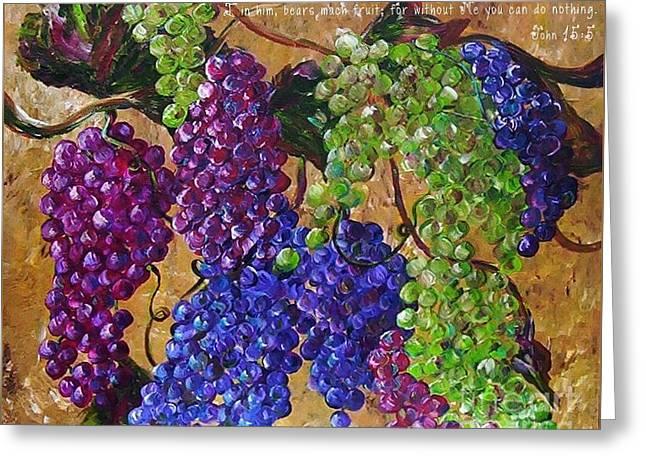 I Am The Vine Greeting Card by Eloise Schneider