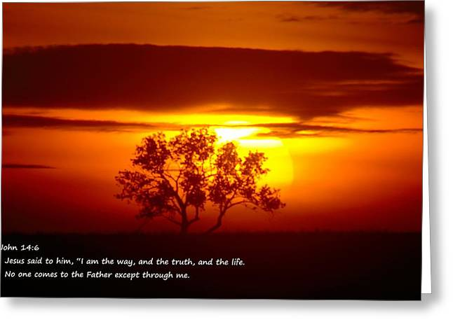 Bible Verse Greeting Cards - I Am The Way John 14-6 Greeting Card by Jeff  Swan