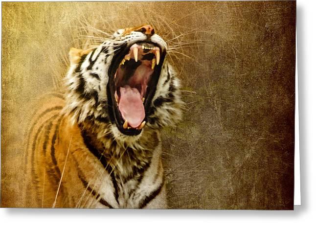 Tiger Digital Art Greeting Cards - I Am Woman Hear Me Roar Greeting Card by Betty LaRue