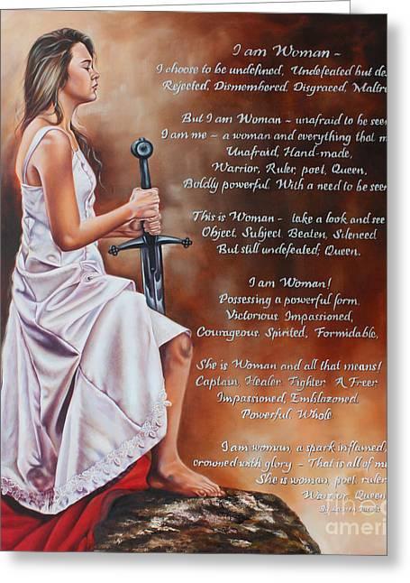 Warrior Bride Greeting Cards - I am Woman Greeting Card by Ilse Kleyn