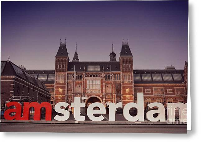 Street Pyrography Greeting Cards - I amsterdam Greeting Card by Miryam  UrZa