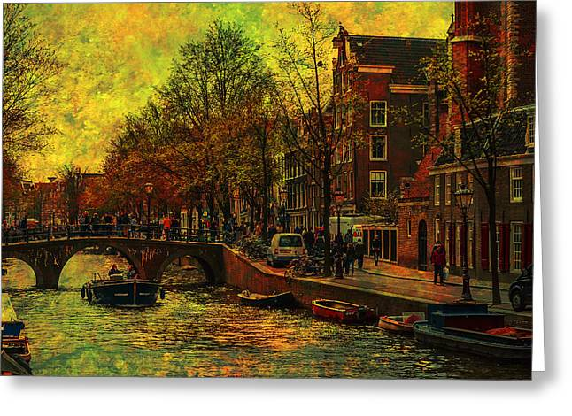 I Amsterdam. Vintage Amsterdam In Golden Light Greeting Card by Jenny Rainbow