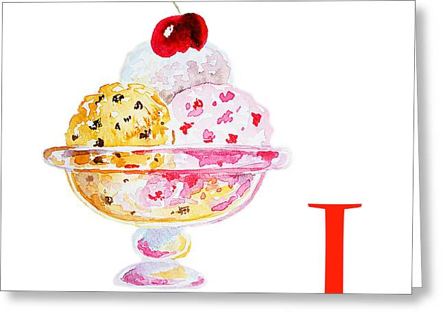 Children Ice Cream Greeting Cards - I Art Alphabet for Kids Room Greeting Card by Irina Sztukowski
