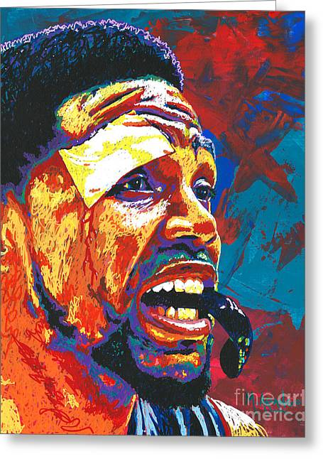Miami Heat Paintings Greeting Cards - I Bleed Heat Greeting Card by Maria Arango