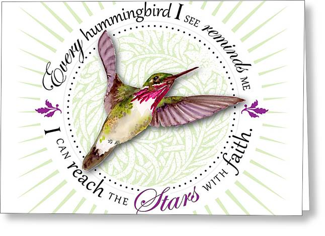 Calliopes Greeting Cards - I can reach the stars with faith Greeting Card by Amy Kirkpatrick