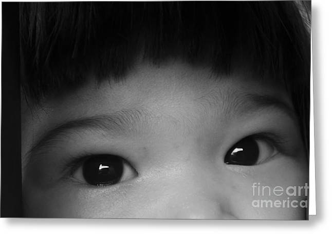 Innocence Greeting Cards - I can see you Greeting Card by Michelle Meenawong